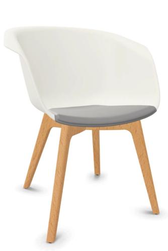 Sedus on spot - us-227 - Besucherstuhl - Sitz gepolstert - Rückenlehne Kunststoff - 4-Fuß Holzgestell