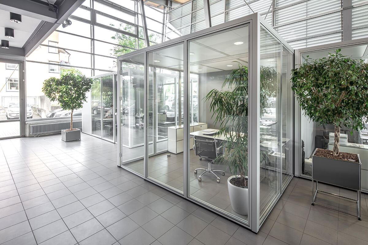 Raum in Raum System aus Glas